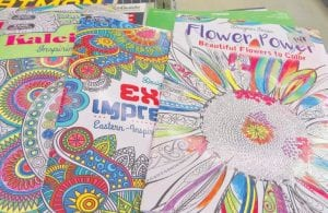 The Goodwill Flint Township store is sponsoring an adult coloring book contest, using pages from these books that are sold in the store.