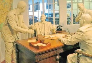 Statues of Walter P. Chrysler and his design team are one of the displays at the Chrysler Museum set to reopen to the public next month on a limited schedule.