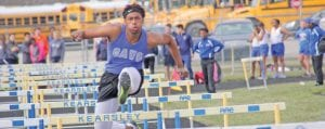 Kenjamin Cochran finished fifth in the 110 hurdles in the Saginaw Valley League Meet.