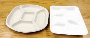 Mo Peeps scored first place in research for their project to replace Styrofoam trays (right) with compostable ones.