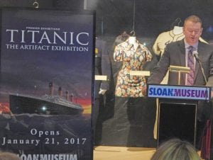 "Executive Director of the Sloan Museum Todd Slisher unveils ""Titanic: The Artifact Exhibition"" on Tuesday, June 14."