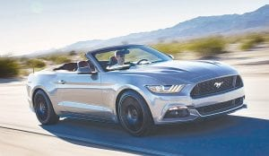 The 2016 Ford Mustang won in the standard convertible segment based on high scores for image, interior design, and power and pick-up.