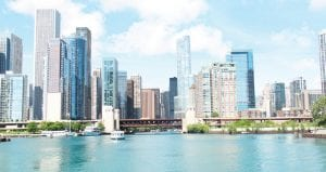 """The Chicago skyline, as seen from the back of a river boat. The tour guide said that Chicago has """"the second most beautiful skyline next to Hong Kong."""" I've never been to China, but it has to be a close race."""