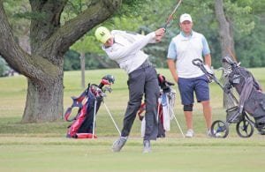 Garrett Jewell drives off the 18th tee at Flint Elks Club last week in the second round of the Mancour Cup. The Swartz Creek graduate shot 73-74-147 to finish second by three strokes.