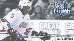 Newly-acquired Flint Firebirds' defenseman Jalen Smereck in action with the Oshawa Generals last season.