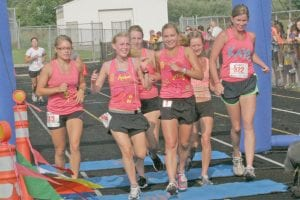 Kelsey Krych, Danielle Bila, Kelsey Meyers, Kaitlin O'Mara, Janee Jones-Elsworth and Sam Minkler crossed the finish line together in a past year's race. Last year, Kaitlin O'Mara finished the race alone for the first time since its inception.