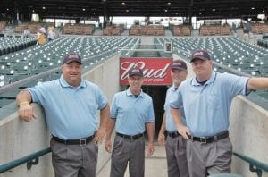 Steve Johnson, second from left, was part of a crew that umpired the 2010 All-Star game at Comerica Park.