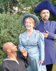 From left: Humble sailor Ralph Rackstraw (Aaron McCoy Jacob) is in love with the Captain's daughter (Emily Carter) to the dismay of Captain Corcoran (David Lindsay).