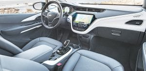 The interior of the 2017 Chevrolet Bolt EV.