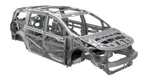 All-new 2017 Chrysler Pacifica body structure is 72 percent high-strength steel.