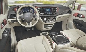The interior of the 2017 Chrysler Pacifica.