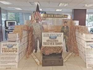 "Delehanty Ford in Flushing has teamed up with the Desert Angels in order to ""Treat Our Troops"" with care packages. The dealership will be collecting items from now through October 15th, when they will package up all of the donated items in the Delehanty showroom. Those who wish to help or donate should contact the dealership or Desert Angels organization, or stop in to drop off items in Delehanty's showroom footlocker."