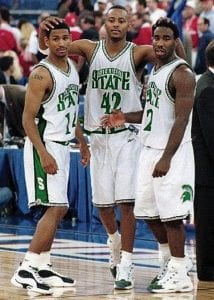 Charlie Bell (left) and Morris Peterson (center) are pictured with teammate Mateen Cleaves during their run as the Flintstones at Michigan State. Bell and Peterson will be inducted into the Greater Flint Area Sports Hall of Fame on Dec. 3.