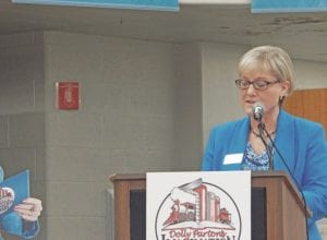 Kay Schwartz, director the Flint Public Library, speaks on the intentions of bringing the Dolly Parton Imagination Library to Flint at its launch on Thursday, Nov. 3.