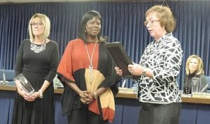 Trustee Barbara Vert could not hold back the tears during a farewell tribute to 12-year trustee Belenda Parker.