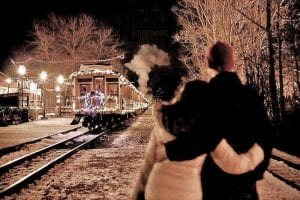 The train at Crossroads Village becomes of the state's largest moving lights displays in late November through December.