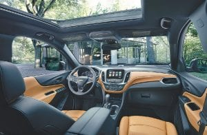 The interior of the recently unveiled 2018 Chevrolet Equinox takes advantage of the Equinox's allnew architecture to offer a down-and-away instrument panel, while a low windshield base provides a commanding outward view.