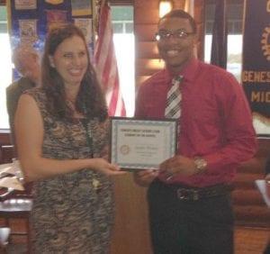 Jaylin Wesley with teacher Kim Herd.