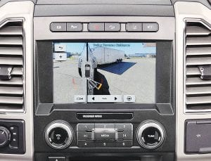 The 2017 Ford F-Series Super Duty side-view cameras shift the driver's on-screen view of the trailer as its angle changes.