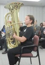 Amelia Gasser on the tuba; and Lauren Harvey on violin performing a duet with Bianca-Sam Bowers on the viola.