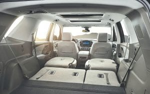 The 2018 Traverse is expected to offer best-in-class passenger volume as well as max cargo room at 98.5 cubic feet, while greater storage options and larger bins throughout the ergonomically optimized cabin are designed to enhance convenience and versatility.