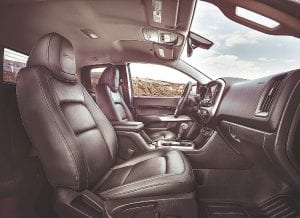 Leather seats and carpet are standard interior features on the 2017 Chevy Colorado ZR2.