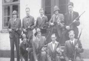 An historical photo taken during a reunion of members of The Churchill Club.