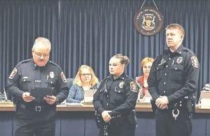 "Officers Lacey Lopez, Michael Schuyler, Barry Wascher and Neal Donovan received the ""Flint Township Police Life Saving Citation"" for recent incidents."