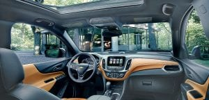 The interior of the recently unveiled 2018 Chevrolet Equinox takes advantage of the Equinox's all-new architecture to offer a down-and-away instrument panel, while a low windshield base provides a commanding outward view.