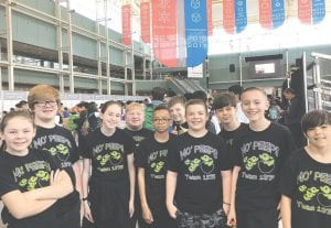 Ready to rumble. Here are 10 of the 13 members of the MO' Peeps teams upon arrival at the Kentucky Exposition Center for the VEX World Championship.