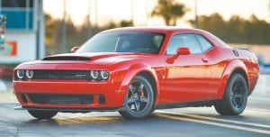 The Dodge Challenger SRT Demon is the fastest ¼-mile car in the world turning the quarter at an NHRA-certified 9.65 seconds @ 140 mph.