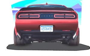 The Challenger SRT Demon is equipped with a set of four standard Nitto NT05R street-legal, drag-race tires, a first for a factory-production car.