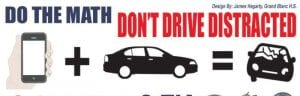 James Hegarty, a student at Grand Blanc High School, created the winning design in the 2017 statewide distracted driving awareness billboard challenge.