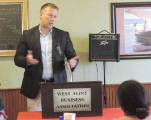 Swartz Creek Superintendent Ben Mainka speaks to the WFBA about school improvement efforts.