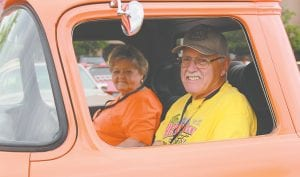 Denny and Brenda Keyworth, of Grand Blanc, driving an orange 1955 Chevy pickup truck, departed from the Insight Institute of Neurosurgery & Neuroscience in Flint, and headed for lunch in Saint Louis, along with hundreds of their friends during the 2017 Back to the Bricks Promo Tour. Photos by Alex Petrie