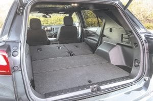 """The all-new 2018 Chevrolet Equinox features a new """"kneeling"""" rear seat which enhances functionality. With it, the bottom cushions tilt forward when the split-folding seatbacks are lowered, allowing a flat floor for easier loading."""