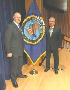 Lt. James Baldwin (left) and Chief George Sippert after the FBI Academy graduation ceremony.