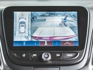Chevrolet's Surround Vision technology uses four cameras: the standard Rear Vision Camera, a forward-looking camera in the front grille and two side-looking cameras under each side mirror.