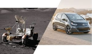 2017 BOLT EV ALONGSIDE A VIEW OF THE APOLLO 17 LUNAR ROVER VEHICLE AT SAMPLE 8135, TAKEN DURING EXTRAVEHICULAR ACTIVITY EVA 3.