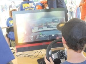 The Michigan State Police brought in a driving simulator to test basic stay on the road skills, driving while under the influence and driving while distracted.