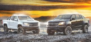 (L to R) 2018 Colorado ZR2 Dusk and ZR2 Midnight Editions.