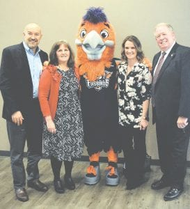 (Left to right) Costa Papista, Flint Firebirds president, Cathy Blankenship, Food Bank of Eastern Michigan vice president, Hot Wings, Flint Firebird mascot, Rachel Hurst, Kroger, William Kerr, Food Bank of Eastern Michigan president