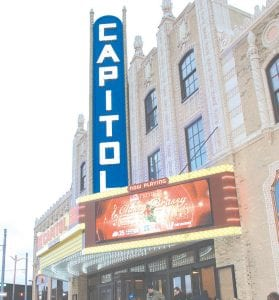 The exterior of the newly refurbished Capitol Theatre in downtown Flint.