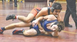 The Cavs' Nathan Peterson, bottom, tries to avoid being pinned in the Genesee County Meet on Saturday at Davison High.