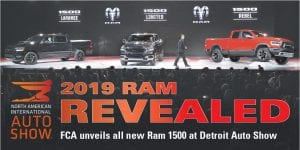 Mike Manley, head of the Ram brand, reveals the 2019 Ram trucks at the North American International Auto Show in Detroit on January 15.
