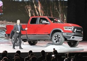 Mike Manley with the 2019 Ram Rebel at the 2018 North American International Auto Show.