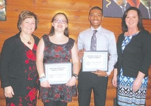 Kate McGilvery and Byzjon Speights, seniors at Carman-Ainsworth High School were recognized by the Genesee Valley Rotary as Students of the Month for January.