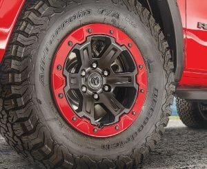 Mopar 18-inch, six-lug off-road beadlock-capable wheels with matching trim rings keep the tires pegged to the rims when aired down for increased off-road grip and traction.