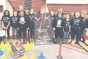 "C-AMS VEX team MO"" Peeps won the state championship for the second year in a row."