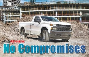 "The 2019 Silverado Work Truck features a ""CHEVROLET"" graphic across the grille and tailgate, blacked-out trim and 17-inch steel wheels for maximum durability. The interior features durable vinyl or cloth seats and 7-inch color touch screen."